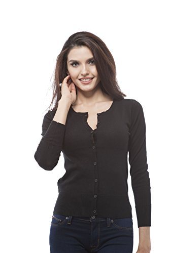 Hollywood Star Fashion Womens Long Sleeves Crewneck Button up Lightweight Cardigan Sweater