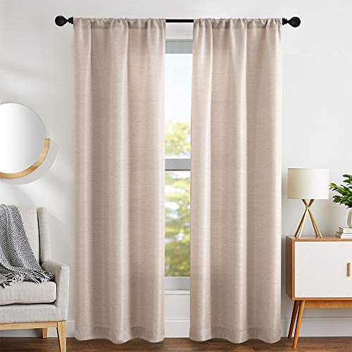 Vangao Window Curtains Linen Texture for Bedroom Jacquard Window Treatment Set for Living Room Textured Beige 84 Inch Long 2 Panels, Rod Pocket