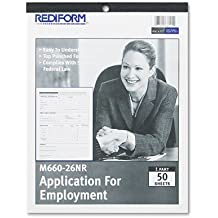 Rediform - Employment Application, 8 1/2 x 11, 50 Forms M660-26NR (DMi PD