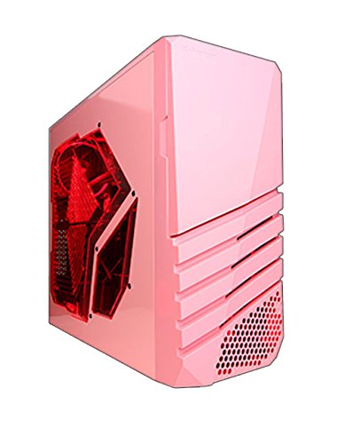 (Apevia X-PIONEER-PK ATX Mid Tower Gaming Case w/ Large Red Tinted Side Window, 1 x 120mm Red LED Fan(Can Install up to 6 Fans), Top 2 x USB3.0 + 2 x HD Audio Ports, Fits Video Card up to 13