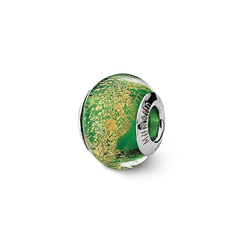 925 Sterling Silver Charm For Bracelet Green/gold Italian Murano Bead Glas Fine Jewelry Gifts For Women For Her (Murano Green Beads Pugster)