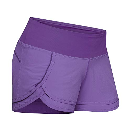 (Women's Stylish Light Weight Athletic Running Shorts Yoga Fitness Active Volleyball Mesh Lining WOD Lifting Dri-Fit Zipper Pocket On Waistband (Medium, Purple))