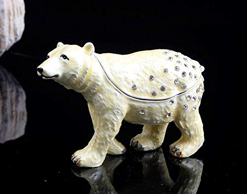 (znewlook White Bear Handmade Jeweled Metal Trinket Box Animal Shaped Pill Box)