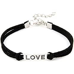 Lowpricenice 1PC Women Men Love Handmade Alloy Rope Charm Jewelry Weave Bracelet (Black)