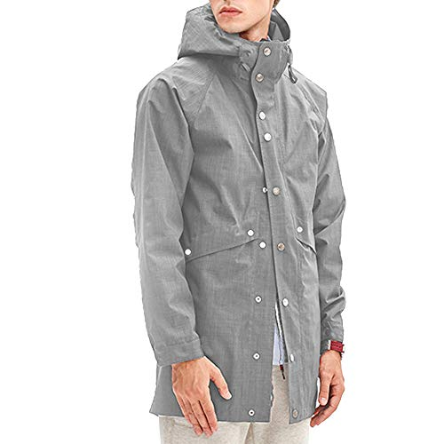 II Softshell Jacket Men Raincoat Men Big and Tall XL Packable Utility Jacket Lightweight,Unisex,for Ski,Travel,Fishing,Camping,Any Outdoor Activities Grey ()