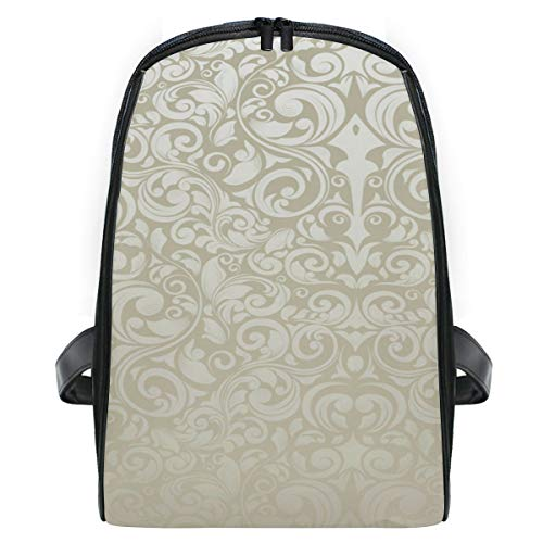 FAJRO Kids Packsack Royal Cream White Flower Pattern Schoolbag Kids First Grade Schoolbag