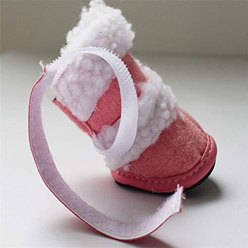 4pcs Feidaeu Zapatos Rosa De Nieve Cálidas Velvet Antideslizante Invierno Perros Para Botas Suaves Y Set Zapatillas xFYFdrwqnW