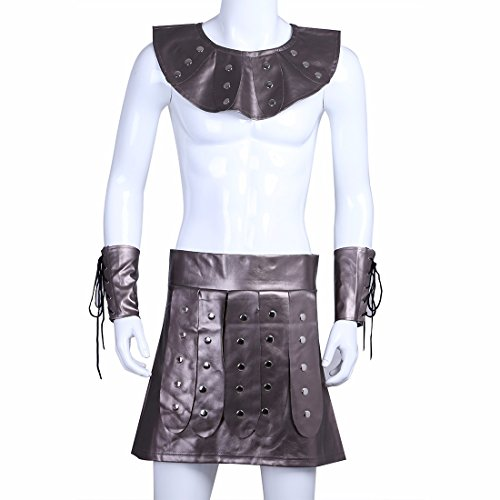 FEESHOW Men Roman Gladiator Adult Costume Outfit Kilt with Collar Cuffs Cosplay Costume Coffee Large