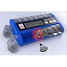 MED-Q Digital Pill Box Organizer, 2 Beep Reminder, LED Alert, BLUE