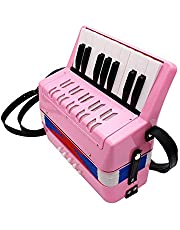Vobajf Dziecięcy akordeon akordeon 17 klawiszy przycisk akordeon muzyczna zabawka łatwa do zabawy instrument dla dzieci w wieku powyżej 5 lat łatwa do nauki i zabawy (kolor: Różowy, rozmiar: 23 x 10 x 23 cm)