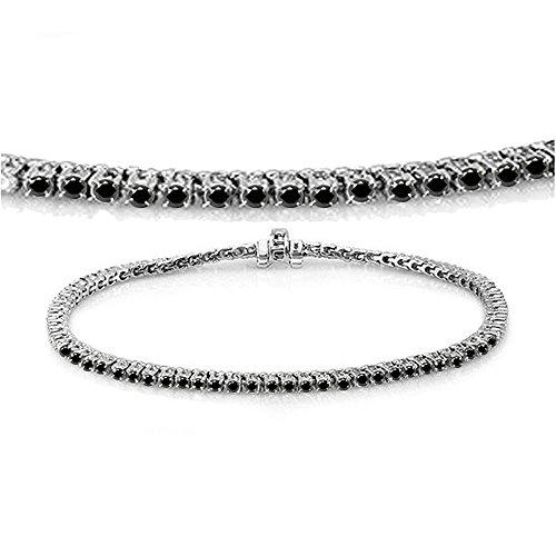 Dazzlingrock Collection 2.00 Carat (ctw) 14K Round Cut Real Black Diamond Ladies Tennis Bracelet 2 CT, White Gold