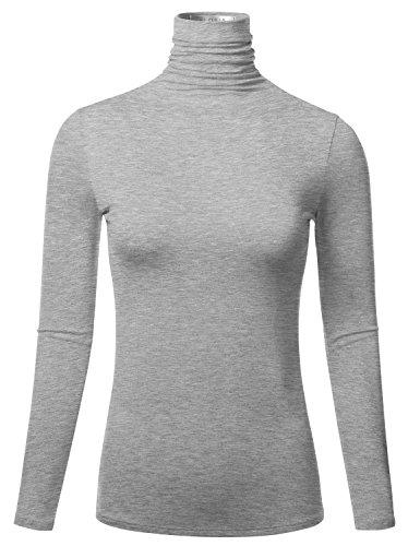 FLORIA Women's Long Sleeve Lightweight Slim Turtleneck Top Pullover HEATHERGREY L