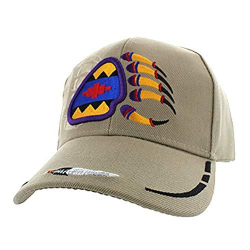 (Native American Pride Bear Claw Paw Baseball Adjustable Hat Cap Khaki)