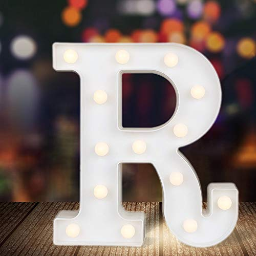 ODISTAR LED Light Up Marquee Letters, Battery Powered Sign Letter 26 Alphabet with Lights for Wedding Engagement Birthday Party Table Decoration bar Christmas Night Home,9'', White(R)