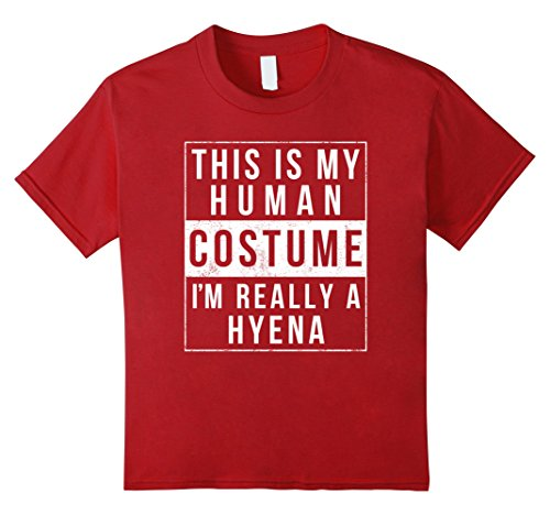 Hyena Costumes (Kids Hyena Halloween Costume TShirt Easy Funny Kids Adult 4 Cranberry)