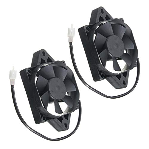 Shiwaki 2pcs Square 12V Electric Engine Cooling Fan Radiator Fit for Motorcycle ATV 150-250cc: