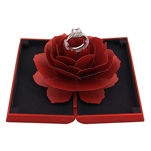 (Aimeio Creative 3D Pop Up Red Rose Ring Holder Engagement Small Ring Box Jewelry Gift Case for Wedding Ceremony Anniversary Mother's Day)