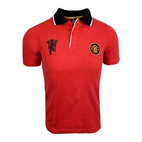 Manchester United FC Crest Polo Shirt, (Kids Sizes) Official M.U. Polo T-Shirt (Imported) (Youth Small 5-7 Years) Red
