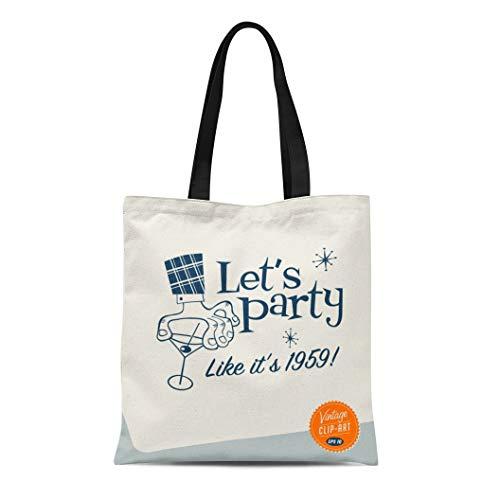 Semtomn Canvas Tote Bag Retro Vintage Clip Let Party 1950S Cocktail 60S Martini Durable Reusable Shopping Shoulder Grocery Bag