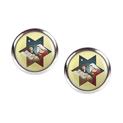 Mylery Stud Earring Pair with Cabochon Picture Christmas Crib Silver 0.47 inch ()