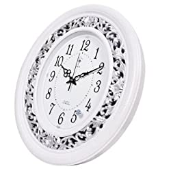 Stylish, Silent Wall Clock Home,Kitchen,Office,Living Room,School Clock Wall Clock Oval Living Room Quartz Clock European Retro Silent Quartz Clock 2877 White Crack Color, White Crack Color