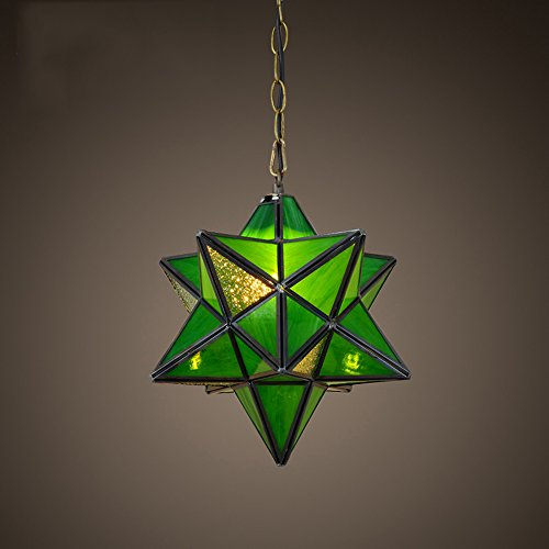 Green Star Pendant Lighting - RFJJ Creative Personality European Pendant Lights,Color Pentagonal Star Glass Lamp,Aisle Bar Cafe Bar Counter Balcony Restaurant Lighting (Color : Green)