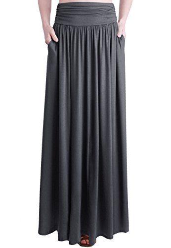 (TRENDY UNITED Women's Rayon Spandex High Waist Shirring Maxi Skirt With Pockets (CCL, Large))