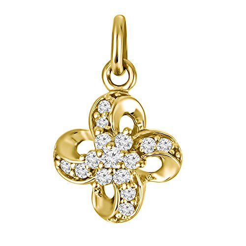 (TwoBirch Yellow Silver Yellow Silver Four Leaf Clover Inspired Fashion Pendant and Matching Chain set with Charles & Colvard Created Moissanite with Charles Colvard Created Moissanite (0.15 ct. twt.))