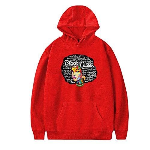 MoKviq Womens Plus Velvet Hoodie,Cool Dashiki Black Afro Women Hair Stylish Printed Classic Pocket Sweatshirt -