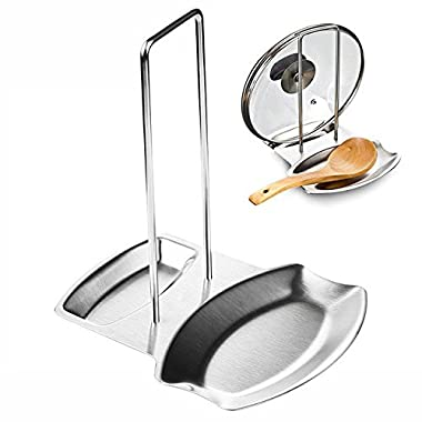 Vinmax Pan Pot Spoon Holder Rack Cover Lid Rest Stand For Home Kitchen And Bar Tools,Stainless Steel