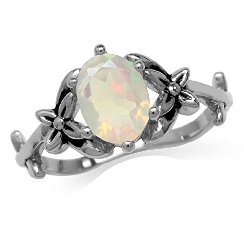 Genuine Opal 925 Sterling Silver Flower & Leaf Vintage Inspired Ring Size 10 ()