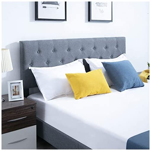 Bedroom Queen Bed Frame with Fabric Upholstered Headboard Platform Bed Mid-Century Mattress Foundation with Diamond Button… modern beds and bed frames