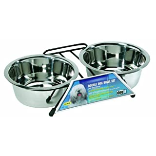 Dogit Stainless Steel Raised Dog Bowls with Wire Frame for Both Dogs and Cats, Medium