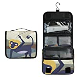 Tarity Toiletry Bag Hanging Travel Portable Bag For Women Funny Monkey Star Kite Cosmetic Makeup Organizer Tarin Pouch Case Hanging Hook Large Capacity