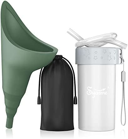 Female Urination DevicePortable Reusable Urinal FunnelExtension TubeSmall Folding StorageSuitable for Travel Festivals Camping Traffic Jams EtcIncludes Waterproof Bag Waterproof Cup