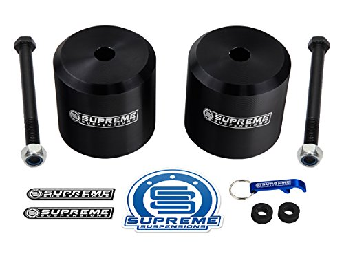 "Supreme Suspensions - Ford F250 F350 Leveling Kit 2.5"" Front Lift Aircraft Billet Coil Spring Spacers (Black)"
