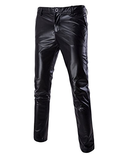 CIC Collection Men's Slim Fit Straight Leg Casual Flat Front Pants Black  30 ()