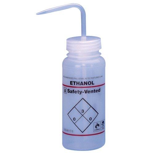 Bel-Art Safety-Vented / Labeled 2-Color Ethanol Wide-Mouth Wash Bottles; 250ml (8oz), Polyethylene w/Natural Polypropylene Cap (Pack of 3) (F11643-0239)