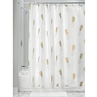 """InterDesign Fabric Pineapple Shower Curtain for Master, Guest, Kids', College Dorm Bathroom, 72"""" x 72"""", Gold and White - FABRIC SHOWER CURTAIN: High-quality wrinkle resistant 100% polyester fabric gives your shower stall a sleek look. Great for master bathroom, guest bathroom, child's bathroom, or basement bathroom MODERN DESIGN: The gold pineapple theme of this curtain and adds an interesting style element to any bathroom environment EASY CARE: Machine wash cold, tumble dry low for an easy clean - shower-curtains, bathroom-linens, bathroom - 414Vr dgP0L. SS400  -"""