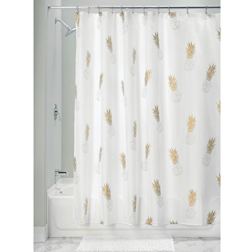 "InterDesign Fabric Polyester Shower Curtain, 72"" x 72"" White Gold Pineapple"