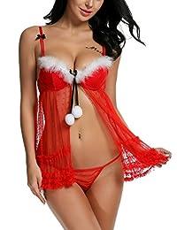 Avidlove Women Red Christmas Babydolls Set Santa Lingerie Lace Chemises