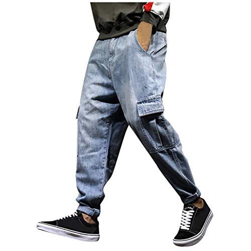 Mwzzpenpenpen Men's Leisure Loose Stretch Harlan Beamed Jeans Straight Classic Cargo Streetwear Lightweight Trousers