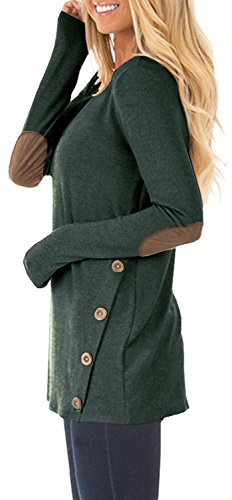 DEARCASE Women's Casual Long Sleeve Round Neck Loose Tunic T Shirt Blouse Tops Green Medium by DEARCASE (Image #2)