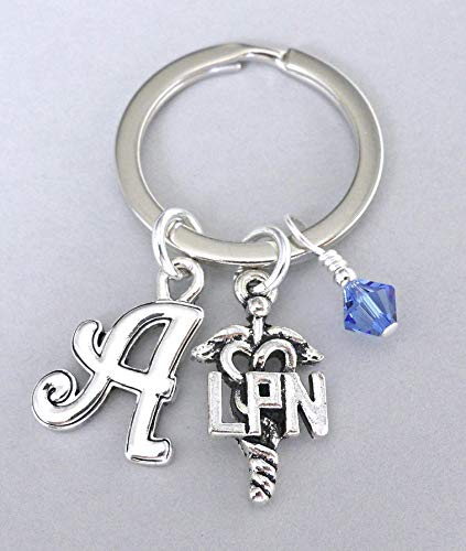 LPN key ring with birthstone crystal and personalized initial, gift for nurse