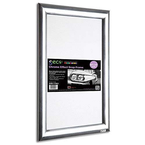 SECO Front Load Easy Open Snap Frame Poster/Picture Frame 8.5 x 11 Inches, Polished Silver Effect Frame ()