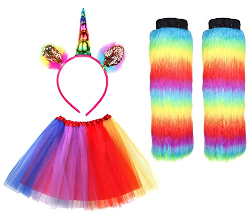 IETANG Women's Rainbow Long Gloves Socks and 3 Layered Tulle Tutu Skirt Party Accessory Set (Color-J) ()