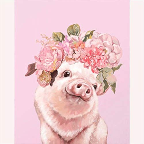 (DIY 5D Diamond Painting by Number Kit, Full Drill Pink Flower Pig Rhinestone Supply Arts Craft Canvas Wall Decor)