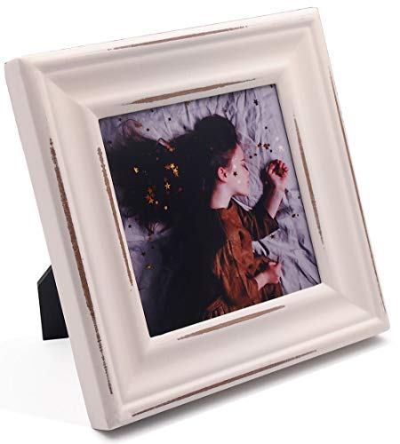Wide Rustic Molding,4x4 White Wood Picture Frame with Glass,Classic Scrape Paint,Table Desk Top Standing or Wall Hanging