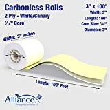 "Alliance, Carbonless, Receipt Rolls, Paper, 3"" x"