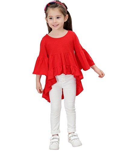 21KIDS Girls Loose Trumpet Sleeves Asymmetrical Flounces Bohemian Blouse Dress Size (Red Girls Top)